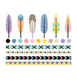 indian feather set vector image vector image