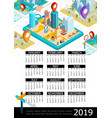 isometric gps 2019 year calendar poster vector image vector image