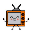 kawaii tv solid household and appliance antenna vector image