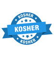 kosher ribbon kosher round blue sign kosher vector image vector image