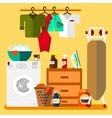 Laundry room in flat style vector image vector image