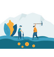 man mining for bitcoins crypto currency concept vector image vector image