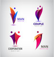 men group logo human family teamwork vector image vector image