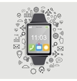 Modern smart watch with app icons Modern flat vector image