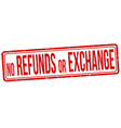no refunds or exchange grunge rubber stamp vector image vector image