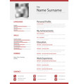 professional personal resume cv in simple red vector image