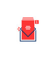 red and blue inbox notice logo vector image vector image