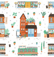 seamless pattern with city buildings on white vector image