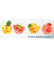 set of fruit juice splash pineapple strawberry vector image vector image