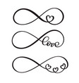 set of word love original custom hand lettering vector image