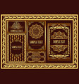 set vintage cards and frames with gold pattern vector image