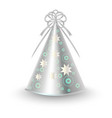 silver party hat with ribbon bow and stars vector image