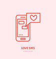 smartphone with love sms by dating vector image