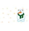 snowman with a green scarf vector image vector image