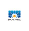 solar home logo template solar panel and sun vector image vector image