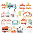 street food set sellers selling food at kiosk vector image vector image