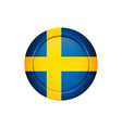 swedish flag on the round button vector image