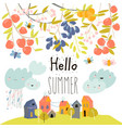 sweet fruits growing on branch hello summer vector image vector image
