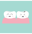Tooth gum icon Healthy smiling tooth Crying bad vector image vector image