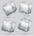 transparent ice cubes set of 4 pieces vector image