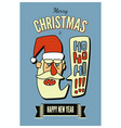 vintage christmas greeting card with santa claus vector image vector image