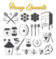 vintage honey elements vector image vector image