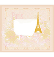 vintage retro Eiffel tower in Paris card vector image vector image