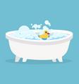 white bathtub cartoon clean cute hot bath with vector image vector image