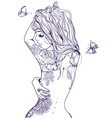 young beautiful woman with tattoo vector image vector image