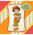 young girl going to sleep with her favorite toy a vector image vector image
