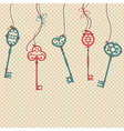 with vintage keys bows and beads vector image