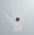 Abstract hand in an electronic circuit chip Design vector image vector image