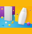 abstract scene shampoo bottle and paper box vector image