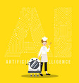ai smart robot and chef on yellow background vector image vector image