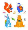 animals students - flat design style set of vector image