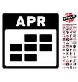 April Calendar Grid Flat Icon With Bonus vector image