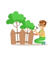 Boy Building Wooden Fence Around Plants Helping In vector image vector image