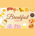 breakfast icon set background in modern flat style vector image vector image