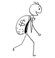 cartoon of smiling businessman carry large bag of vector image vector image
