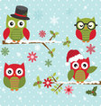 Christmas Cute Owl with Branch vector image vector image