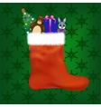 Christmas stocking with gifts and toys vector image vector image