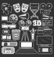 cinema movie and film reel popcorn 3d glasses vector image vector image