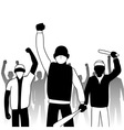 Combative protesters vector image vector image