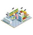 convenient shop family composition vector image vector image