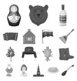 country russia travel monochrome icons in set vector image vector image