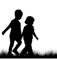 Couple of children silhouettes outdoor vector image vector image
