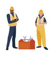 couple of men builders working with toolbox vector image vector image