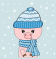 cute pig in hat and pink glasses vector image vector image