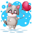 cute raccoon with pink balloon vector image vector image