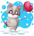 cute raccoon with pink balloon vector image